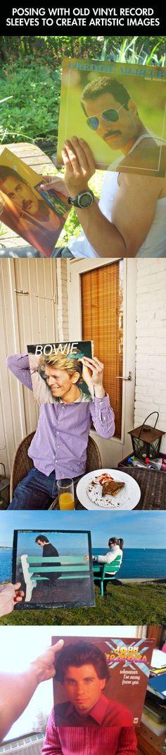 Posing with vinyl records -- Freddie is my favorite