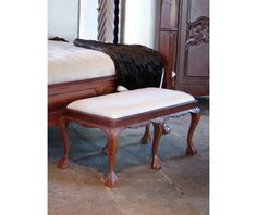 Stool in English Chippendale style (item no: 6801). Visit our homepage for more information and to view all your finish & fabric options. /SWSC