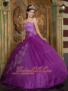 Beautiful Purple Quinceanera Dress Sweetheart Appliques Tulle Ball Gown  http://www.fashionos.com  This one is made from a lovely taffeta fabric and features a strapless bodice with gorgeous stars, the interleaved lace-up corset style closure in the back secures the dress in place. The A-line skirt is full and shapely and features a voile overlay with the same rhinestone accents found in the bodice. For an even more authentic princess effect, wear it with a tiara and diamond jewels!