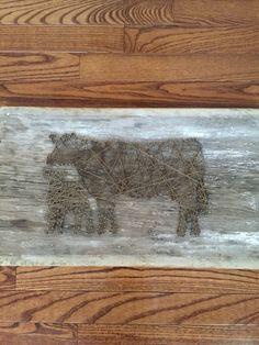 Barnwood Cow and Calf String Art