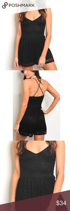 NEW black lace romper Boutique black lace romper with criss cross back. Form fitting so size up if you want it a little looser and/or longer. Super flirty and fun. 94% nylon, 6% spandex. Bundle and save! Dresses
