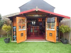 The Admirals Head Pub/Entertainment from Garden owned by Lee Carrie Backyard Shed Bar Ideas, Garden Bar Shed, Pool Shed, Backyard Sheds, Outdoor Sheds, Man Cave Outdoor, Outdoor Cafe, Man Cave Garage, Man Cave Shed