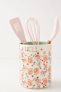 Buy Anthropologie Delilah Floral Stoneware Utensil Jar, from our Kitchen Storage range at John Lewis & Partners. Free Delivery on orders over Kitchen Jars, Kitchen Stuff, Kitchen Utensils, Kitchen Decor, Happy Kitchen, Kitchen Things, Kitchen Storage, Kitchen Dining, Gift Guide For Him