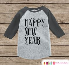 Kids New Year Shirts - Happy New Year - New Years Eve - Boy or Girls Onepiece or Shirt - Infant, Toddler Grey Baseball Tee - Stars