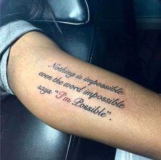 englische Tattoo Sprüche am Arm ein Wortspiel unmöglich ich bin möglich