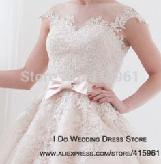 Online Shop 2015 New Design Sheer Pink Wedding Dresses Lace Short Bridal Gowns with Bow Vestidos de Novia W3327|Aliexpress Mobile