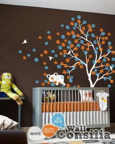 In Stock $125.00 www.wallconsilia.com   Cute and dreamy tree decal with stunning vibrant colors and cute animals, great addition to your baby's room. Indulge your little one's imagination with this stunning vinyl wall decal set perfect for any nursery or bedroom. We think it's a great choice for gender neutral nursery! This tree mural sticker features dreamy scene –what could a little kid love more?