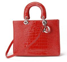 Large Lady Dior bag in red crocodile embossed leather