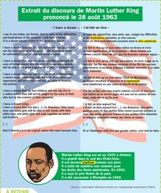 Mather Luther King, English Class, English Lessons, Martin Luther King, Theme Anglais, French Phrases, Cycle 3, Learn French, French Language