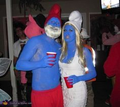 What I REALLY want to be but Marcin won't be.... Papa Smurf and Smurfette - Homemade Couple Costume