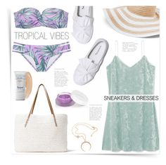 """Tropical Vibes"" by katrinaalice ❤ liked on Polyvore featuring See by Chloé, G.H. Bass & Co., Victoria's Secret, rms beauty, Vera Bradley and Supergoop!"