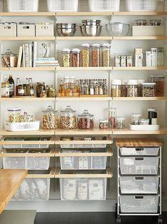 White Kitchen Decor, Home Decor Kitchen, Home Kitchens, Rustic Kitchens, Kitchen Ideas, Diy Kitchen, Pantry Shelving, Shelving Ideas, Pantry Storage