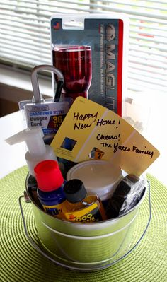We recently went to a Housewarming party and we put together a fun bucket of goodies for the new homeowners. We tried to choose a variety o...