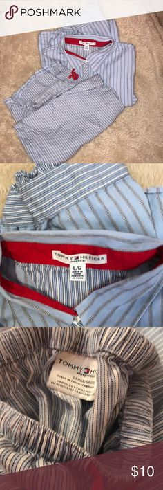 Tommy Hilfiger Blue Flannel Pajamas Size Large Comfy pajamas size large top & bottom.  Nonsmoking home Tommy Hilfiger Intimates & Sleepwear Pajamas