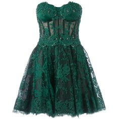 ZUHAIR MURAD strapless floral lace dress (93,950 HNL) ❤ liked on Polyvore featuring dresses, vestidos, short dresses, green, green dress, floral dresses, green lace dress, lace mini dress and strapless cocktail dresses