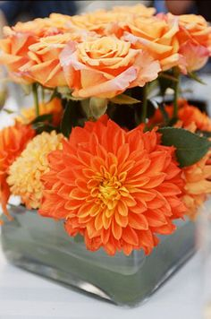 Orange, Centerpieces, Summer wedding flowers decor, Fall wedding flowers decor. #FlowerFriday