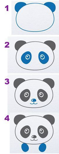 Easy Things to Draw When You Are Bored - Draw A Panda - Quick and Cool Drawing Lessons for Fun Art - How to Draw Basic Things, Cartoons, Animals, Flowers, People basic animal drawings 50 Easy Things to Draw When You Are Bored Panda Party, Panda Birthday Party, Cake Birthday, Panda For Kids, Panda Love, Baby Pokemon, Drawing Lessons, Drawing For Kids, Art For Kids