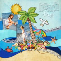 Beach Day digital scrapbook layout by KarenZ | Kate Hadfield Designs creative team