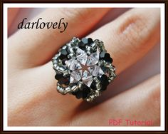 Swarovski Black Round Swirl Ring | JewelryLessons.com