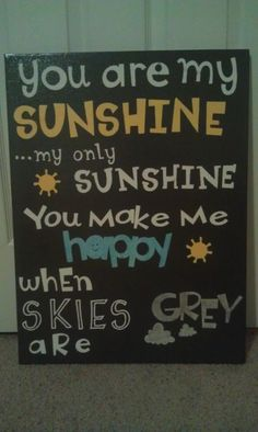 I love this. I sing this song to my children every morning...Made this for our family room or TV room :) I used my cricut to cut the letters out of freezer paper, and then ironed them onto a white canvas. Used spray paint I already had, and then just peeled the letters off- very little paint crept through on the edges :) Just used small detail brushed and fabric and acrylic paint (what I had on hand) to paint in a few words.