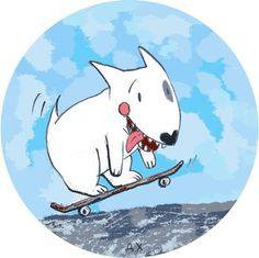 Bull Terrier Ferd skateboarding. Illustration by the Russian artist Daria Khmelevtseva