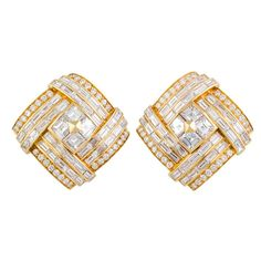 IMPORTANT BULGARI 1980s  Diamond Gold Earclips | From a unique collection of vintage clip-on earrings at http://www.1stdibs.com/jewelry/earrings/clip-on-earrings/