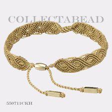 "Authentic Pandora Gold 14K Small Beige Macrame Bracelet 5.5""  550711CBG-SO"