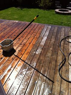 3 scoops of oxy clean in approx 2.5 gallons hot water. Get frothy with a Brush and tap onto the boards. It should get slightly bubbly (if not, time to dump & make again). Scrub off and rinse. This worked well on our cedar deck that had sat for 2 years.