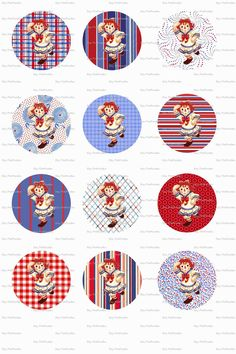 Raggedy Ann and Andy Doll with Christmas Collage Bottle Cap Digital Images 3 Sheets
