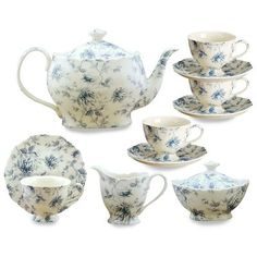 Gracie China Blue Rose Chintz Tea Service, Teapot Sugar Creamer and Four Cups and Saucers: Kitchen & Dining China Tea Sets, Tea Pot Set, Blue China, China China, Tea Service, China Porcelain, Porcelain Tiles, Painted Porcelain, Porcelain Doll