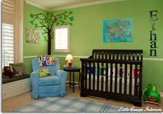 blue, green and black...love this color scheme for a baby boy.