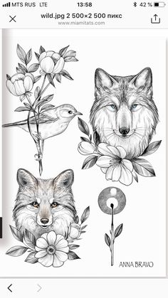 I sincerely have an appreciation for the color styles, lines, and fine detail. This is a terrific idea if you really want a Tattoo Sketches, Tattoo Drawings, Mosaic Tattoo, Rosen Tattoos, Bild Tattoos, Fox Tattoo, Tattoo Stencils, Neo Traditional Tattoo, Animal Sketches