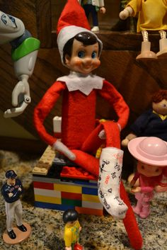 Shelf Elf broke his leg in a reindeer accident. Friends warm up his cast with some John Hancocks. Elf Cast, All Things Christmas, Christmas Holidays, Xmas, Holiday Fun, Christmas Crafts, Christmas Ideas, Bad Elf, Elf Magic