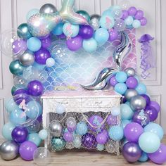 Mermaid Baby Showers, Baby Mermaid, Mermaid Balloons, Metallic Balloons, Purple Balloons, Clear Balloons, Mermaid Theme Birthday, 5th Birthday, Mermaid Party Decorations