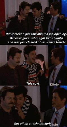 """Jean-Ralphio (Parks and Recreation) my favourite is every time he's rejected he's like """"yeah that's a good call. Go with your gut"""" Parks And Rec Gif, Parks And Recs, Parks And Recreation, Jean Ralphio, Parks Department, Book Tv, Hilarious, Funny, Movies Showing"""