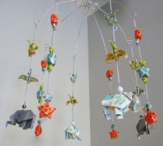Boy Baby Mobile with Elephants, Stars and Cranes - Origami Mobile - Decorative Nursery Mobile - Star Mobile - Elephant Mobile  Bird Mobile