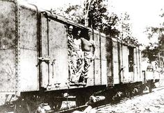 'Salt wagon' railway carriages on the Burma-Thailand railway. These wagons were used to transport prisoners of war from Singapore to Thailand, a journey of several days and nights. Forty men were packed into these badly ventilated wagons.
