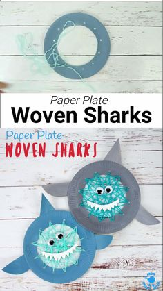 Build fine motor skills with this easy Paper Plate Shark Lacing Craft. This adorable shark craft is great for Shark Week, Summer craft sessions and ocean study units! Woven Sharks are a fun activity f Paper Plate Art, Paper Plate Crafts For Kids, Animal Crafts For Kids, Summer Crafts For Toddlers, Toddler Crafts, Diy Crafts For Kids, Shark Activities, Craft Activities For Kids, Elderly Activities