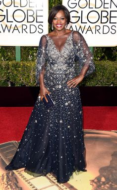 Viola Davis from 2016 Golden Globes Red Carpet Arrivals  In Marchesa.  I wish it had been sleeveless.
