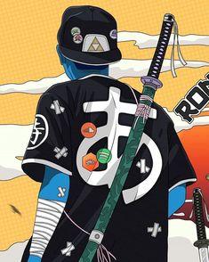 Urban Samurai, Samurai Art, Comic Book Style, Comic Books Art, Aesthetic Anime, Aesthetic Art, Marshmello Wallpapers, Samurai Wallpaper, Arte Cyberpunk