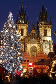 Czech Republic, Prague, christmas lights on Old Town Square, Tyn church