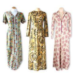 3 different vintage tribal maxi dresses