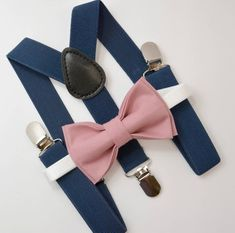 Bow Tie & Suspenders SET / Dusty Rose Pink Bow Tie / Navy Blue Suspenders / Kids Mens Baby Wedding Page Boy Set 6mo - Adult Set