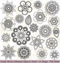 Hand Drawn Flowers Clipart Clip Art Doodle Mandala Clip Art Clipart Vectors - Commercial and Personal Use 2 Clipart, Flower Clipart, Zantangle Art, Zen Art, Art Doodle, Illustration Tattoo, Flower Doodles, Doodle Flowers, Mandalas Painting