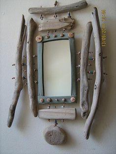 Driftwood & bead mirror | by noomenix creations