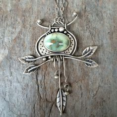 Lucin Variscite Necklace with Fine Silver. Designer Cabochon Jewelry. Made for Charity.
