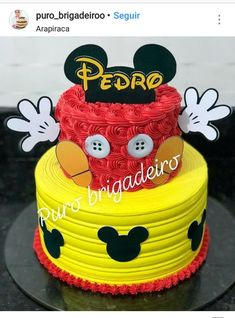 Pastel Mickey Mouse Niño, Bolo Do Mickey Mouse, Mickey And Minnie Cake, Fiesta Mickey Mouse, Bolo Minnie, Mickey Cakes, Minnie Mouse Cake, Mickey Party, Mini Mouse Birthday Cake