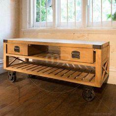 L'usine Vintage TV Stand - Large Range of Vintage Storage Chest & Vintage Storage Jars - Milan Direct