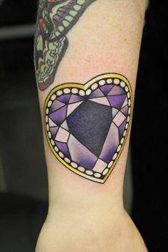 Purple Diamond Heart Tattoo By Phatt German