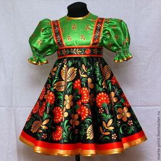 Fabric In Russian Style Khokhloma, Fabric Khokhloma Malinka, Fabric For Russian Folk Costumes. Dance Outfits, Dance Dresses, Kids Outfits, Girls Dresses, Doll Clothes Patterns, Clothing Patterns, Russian Fashion, Russian Style, Russian Folk